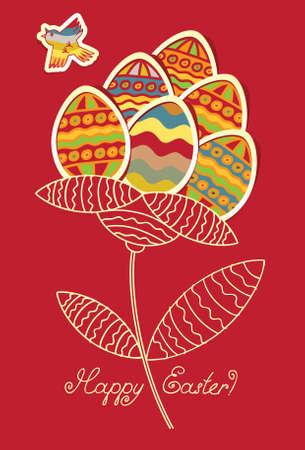 ruiseñor: Las tarjetas con flores de huevos de Pascua y el pájaro que vuela