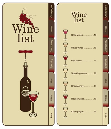 wine list: banner with menu for wine