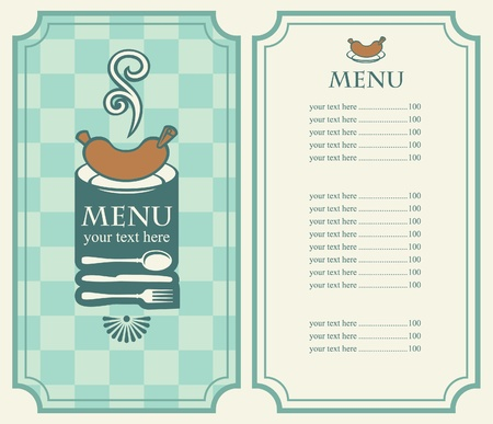 menu of sausages and cutlery  Vector