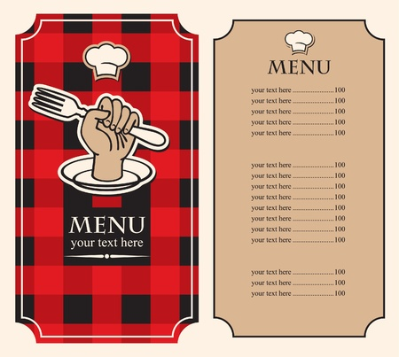 menu on black red background with fork in hand  Vector