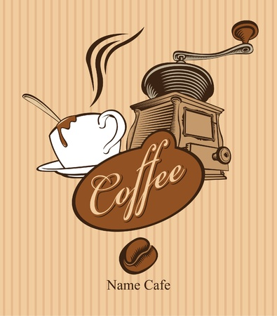 banner with cup of coffee and coffee grinder  Vector