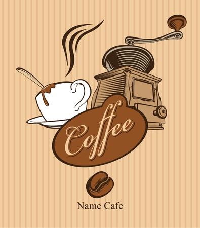 pancarta con la taza de molinillo de café y café