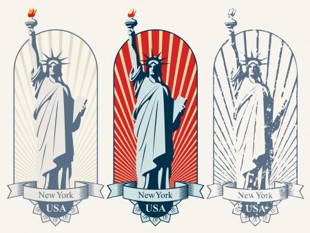 three posters with statue of liberty Vector