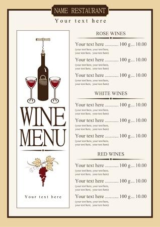 carte des vins avec une liste de prix des différents vins