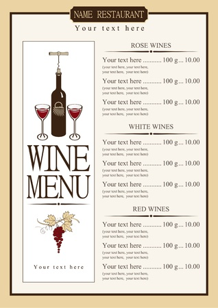 wine menu: wine menu with a price list of different wines