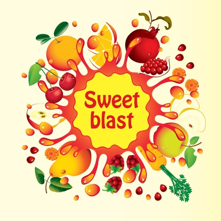 fruity: Banner with fruit, and splashes juice  Illustration