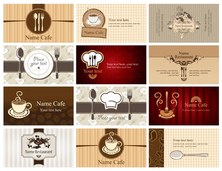 tray: set of business cards on the theme of food and drink