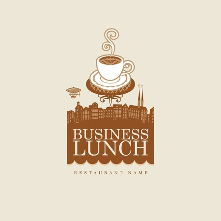 banner with cup of coffee on background of old town  Vector