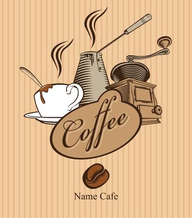 pancarta con la amoladora y una taza de café