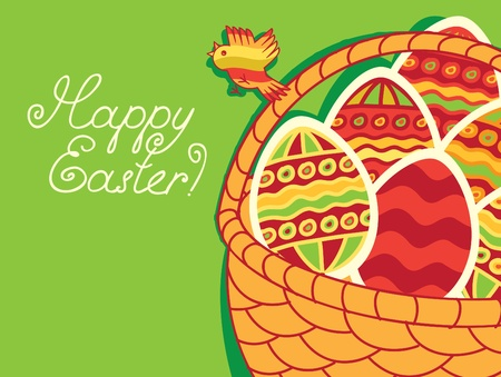 basket of Easter eggs on green background  Vector