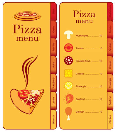 ham and cheese: menu for pizza with different toppings  Illustration
