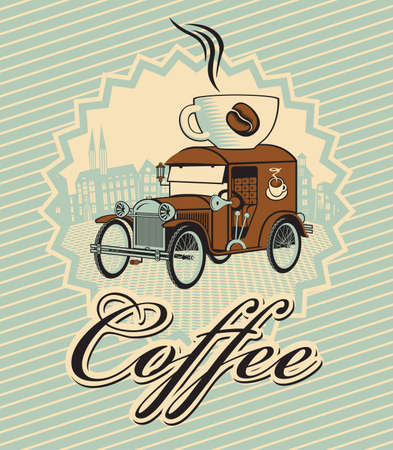 banner with car and cup of coffee on roof  Vector