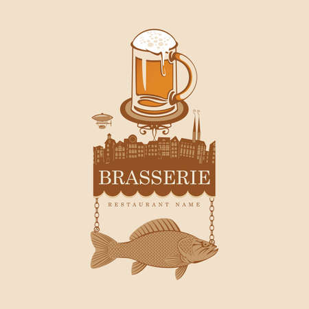 banner for bar with glass of beer and fish  Vector