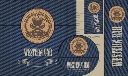 western background: menu with cup of coffee on background of denim