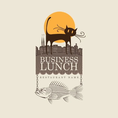 Banner for restaurant with cat and fish  Vector