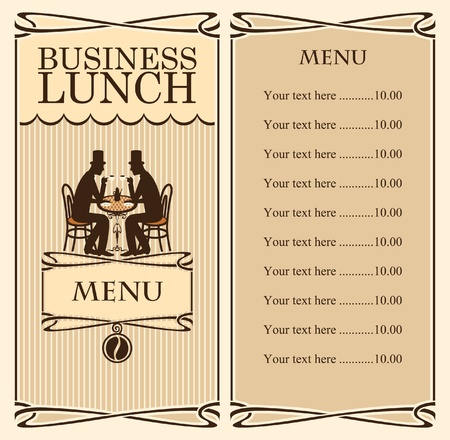 cafe shop: Menu for business lunch, talking with two gentlemen  Illustration