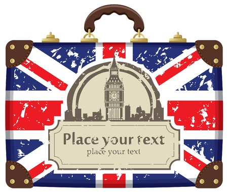 in english: Travel suitcase with flag of Britain and Big Ben