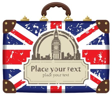 Viajes maleta con la bandera de Gran Bretaña y el Big Ben