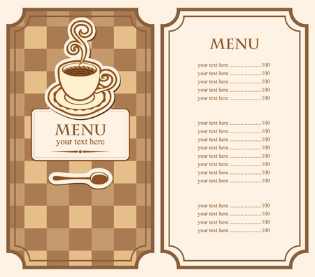 menu for cafe with cup of coffee  Vector
