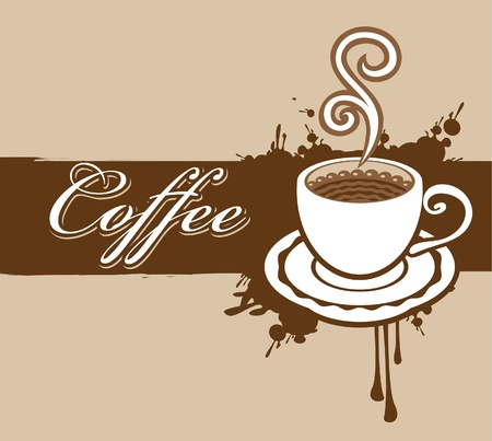 banner with a cup of coffee and a splash  Vector