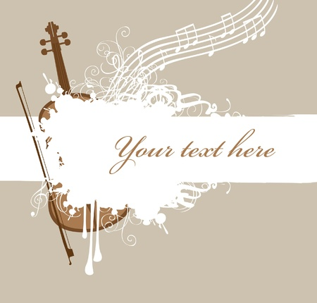 treble: background with texture spray and music with violin and bow  Illustration
