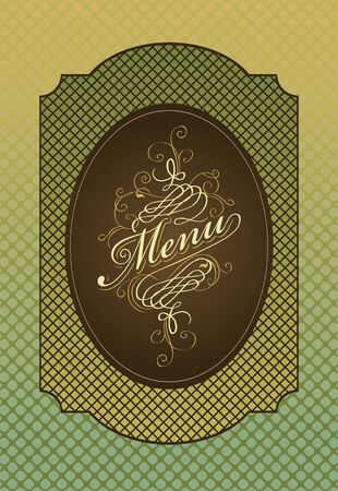 menu in retro style on green background Stock Vector - 12803229