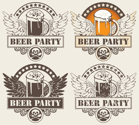glass of beer: set of four banners with glass of beer and wings  Illustration