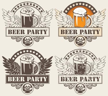 vasos de cerveza: un conjunto de cuatro banderas con un vaso de cerveza y las alas