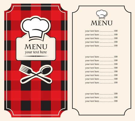 menu on black red background with chef s hat  Vector
