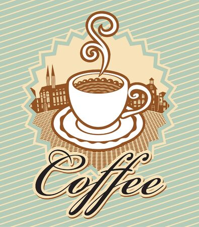 banner for coffee in retro style with cup of coffee on background of old town Stock Vector - 12803216