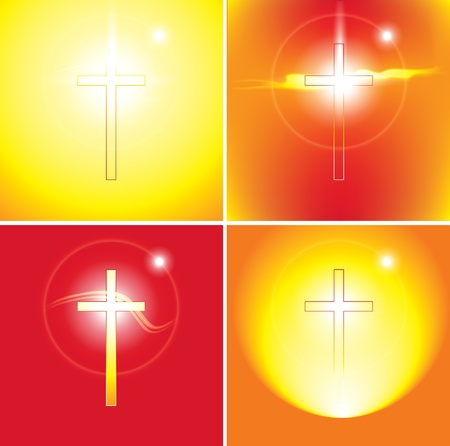set of four banners on Christian themes