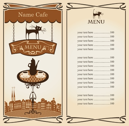 teapot: Menu for Urban Tea restaurant with cat  Illustration