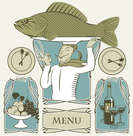 set of cook fish on the head and two dishes  Vector