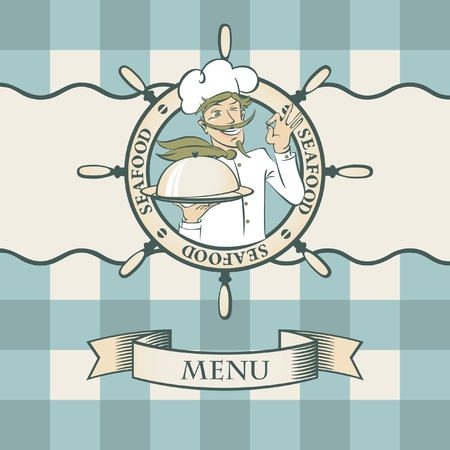 Banner for seafood with chef  Иллюстрация