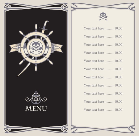menu bar with pirate ship s helm and sword  Vector