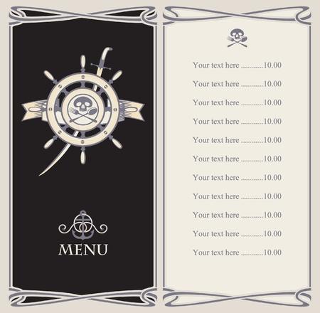 roer: menubalk met roer piratenschip s en zwaard Stock Illustratie