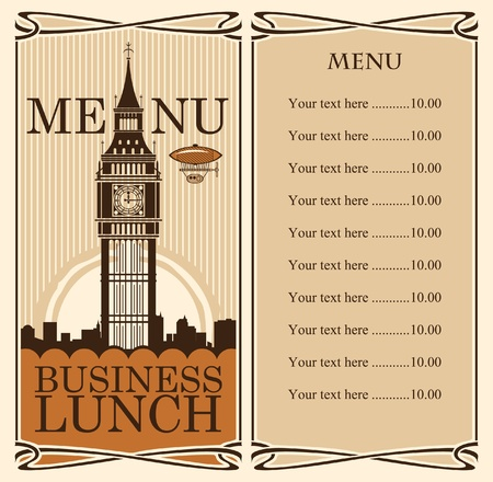 big business: menu with Big Ben in London against backdrop of