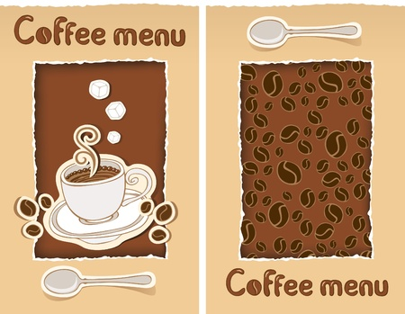 two banners with cup of coffee and grains  Vector