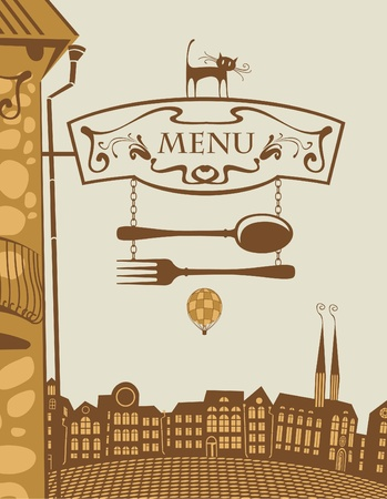 urban landscape with sign for restaurant and cat  Vector