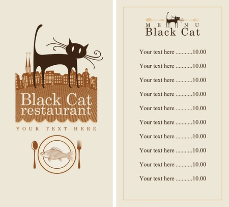 cat fish: menu with cat, fish and the old town  Illustration