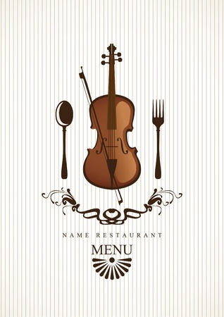 banner with cafe menus for music with violin and cutlery Stock Vector - 12803231