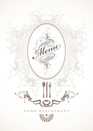 spoon and fork: background for menu with baroque frame  Illustration