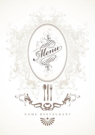 cuchara y tenedor: de fondo para el men� con el marco barroco Vectores