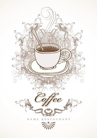 banner with cup of coffee on background with swirls Stock Vector - 12803238