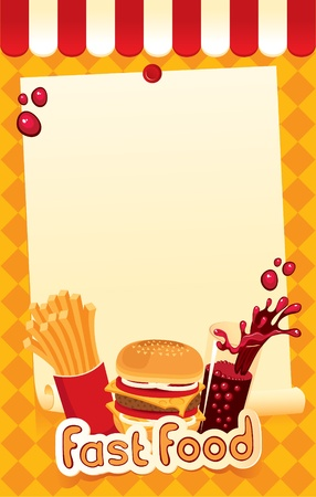 eating fast food: fast-food menu for burger, fries and cola  Illustration