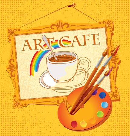 painted picture of cup of coffee, palette and brushes  Stock Vector - 12803243