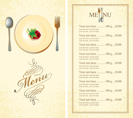 menu: menu with raspberries on plate  Illustration