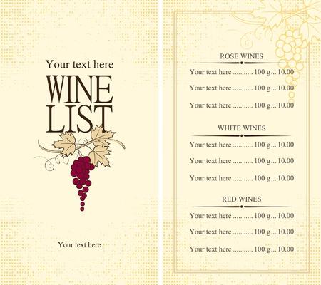 Carte des vins Menu avec la vigne Vecteurs
