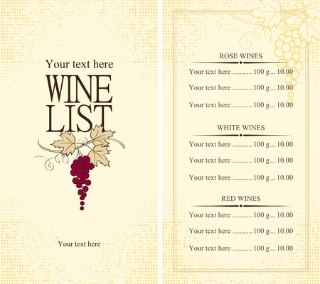 Menu wine list with grape vine  Vector