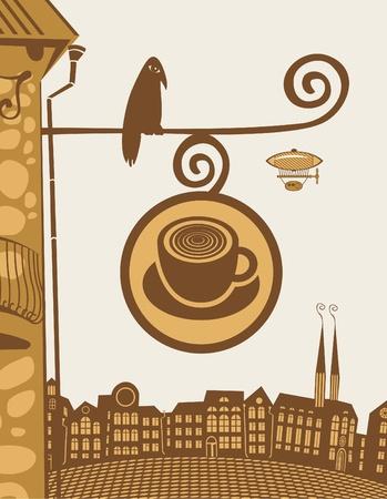 retail chain: firmare per un caff� con l'uccello, seduta